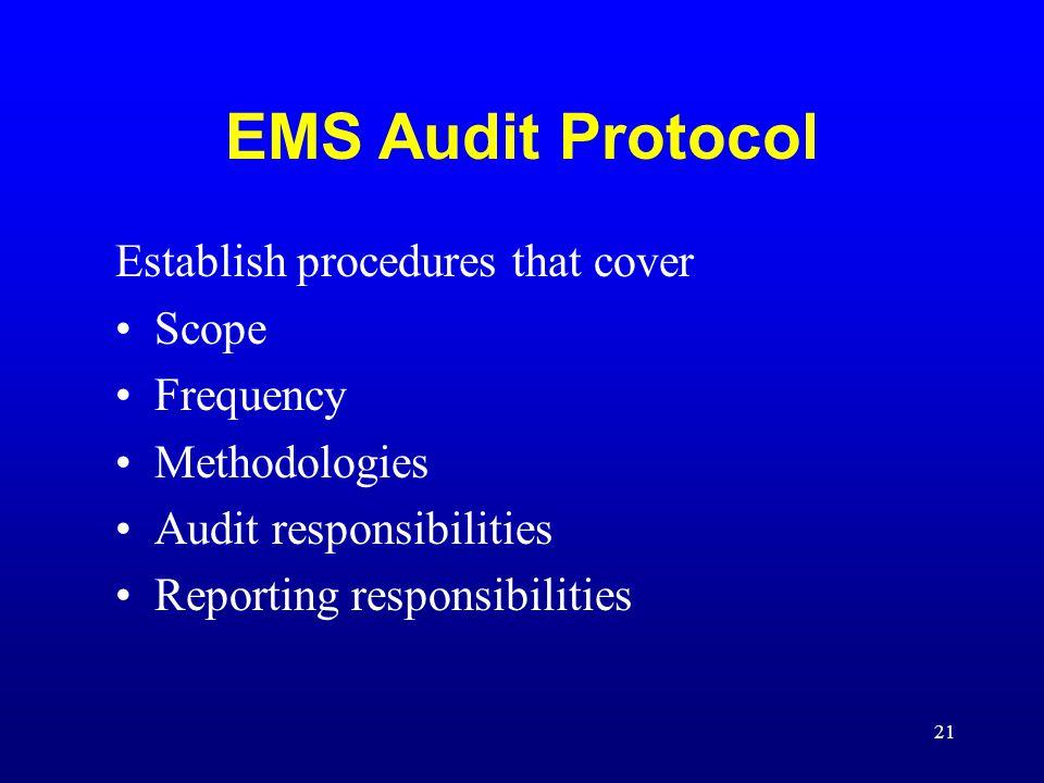 21 EMS Audit Protocol Establish procedures that cover Scope Frequency Methodologies Audit responsibilities Reporting responsibilities