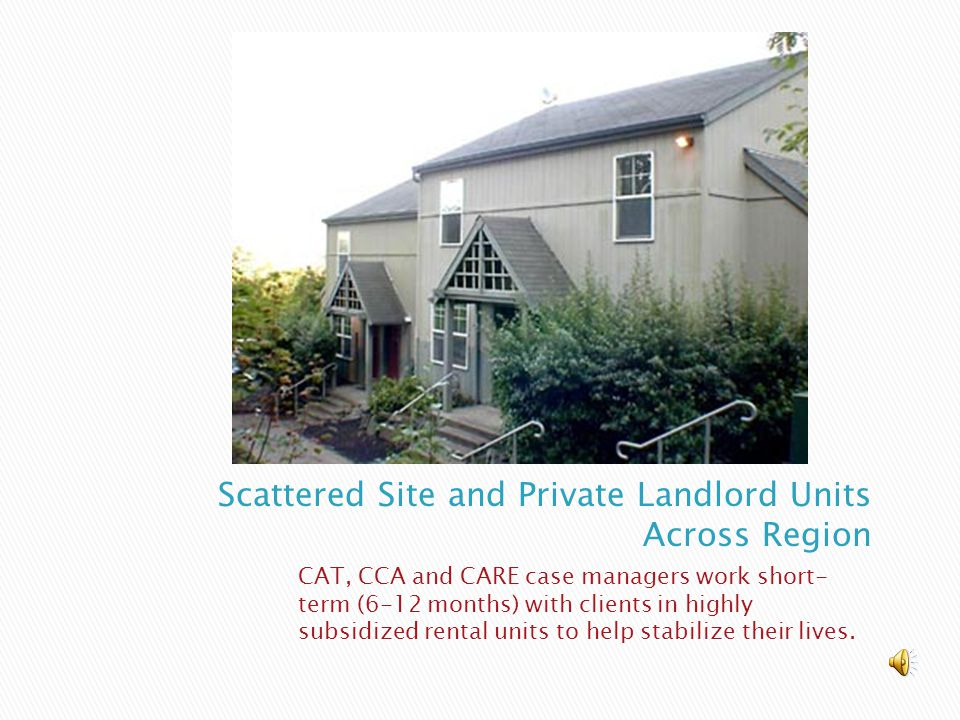 CAT, CCA and CARE case managers work short- term (6-12 months) with clients in highly subsidized rental units to help stabilize their lives.