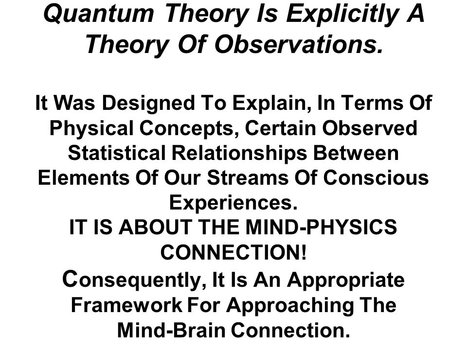 Quantum Theory Is Explicitly A Theory Of Observations.