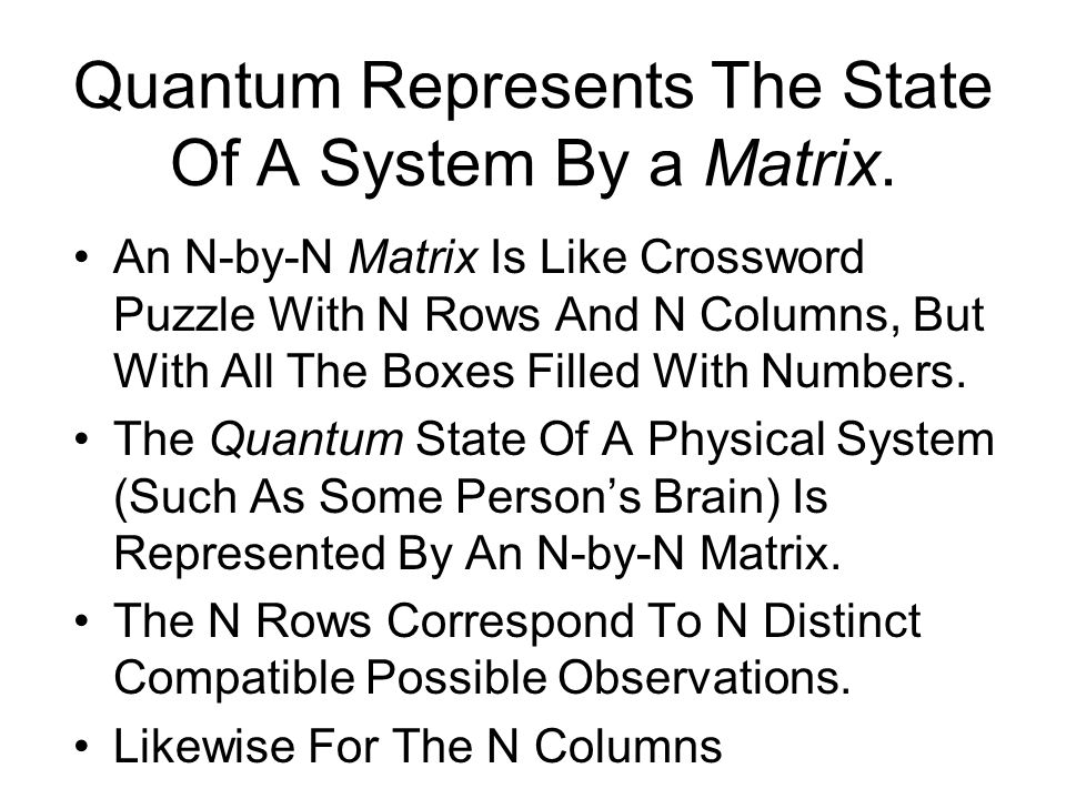 Quantum Represents The State Of A System By a Matrix. An N-by-N Matrix Is Like Crossword Puzzle With N Rows And N Columns, But With All The Boxes Fill