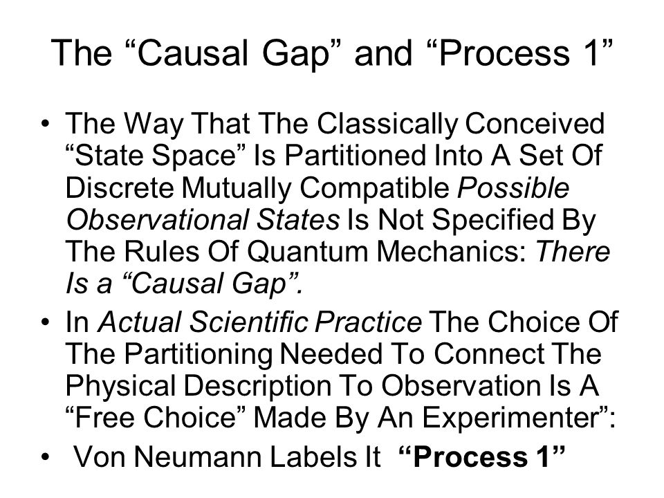 The Causal Gap and Process 1 The Way That The Classically Conceived State Space Is Partitioned Into A Set Of Discrete Mutually Compatible Possible Observational States Is Not Specified By The Rules Of Quantum Mechanics: There Is a Causal Gap .