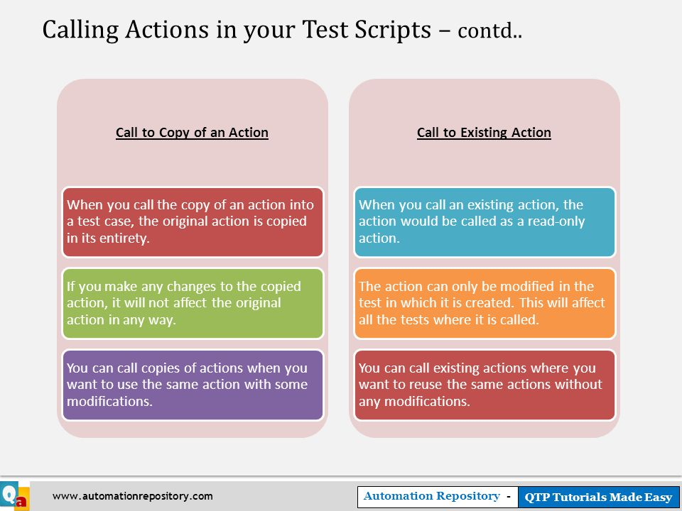 Automation Repository - QTP Tutorials Made Easy www.automationrepository.com Calling Actions in your Test Scripts – contd..
