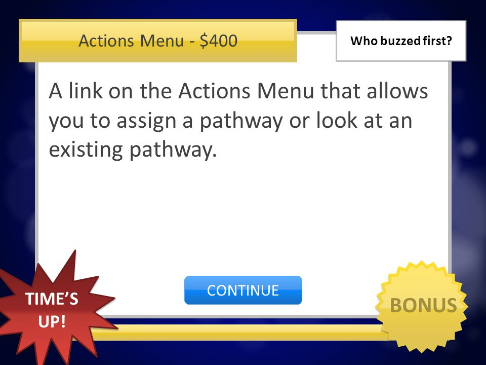 Actions Menu - $300 Medication Administration Record (MAR) CORRECT INCORRECT