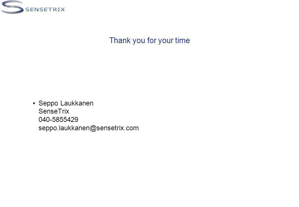 Thank you for your time Seppo Laukkanen SenseTrix 040-5855429 seppo.laukkanen@sensetrix.com