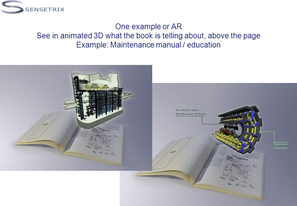 One example or AR See in animated 3D what the book is telling about, above the page Example: Maintenance manual / education
