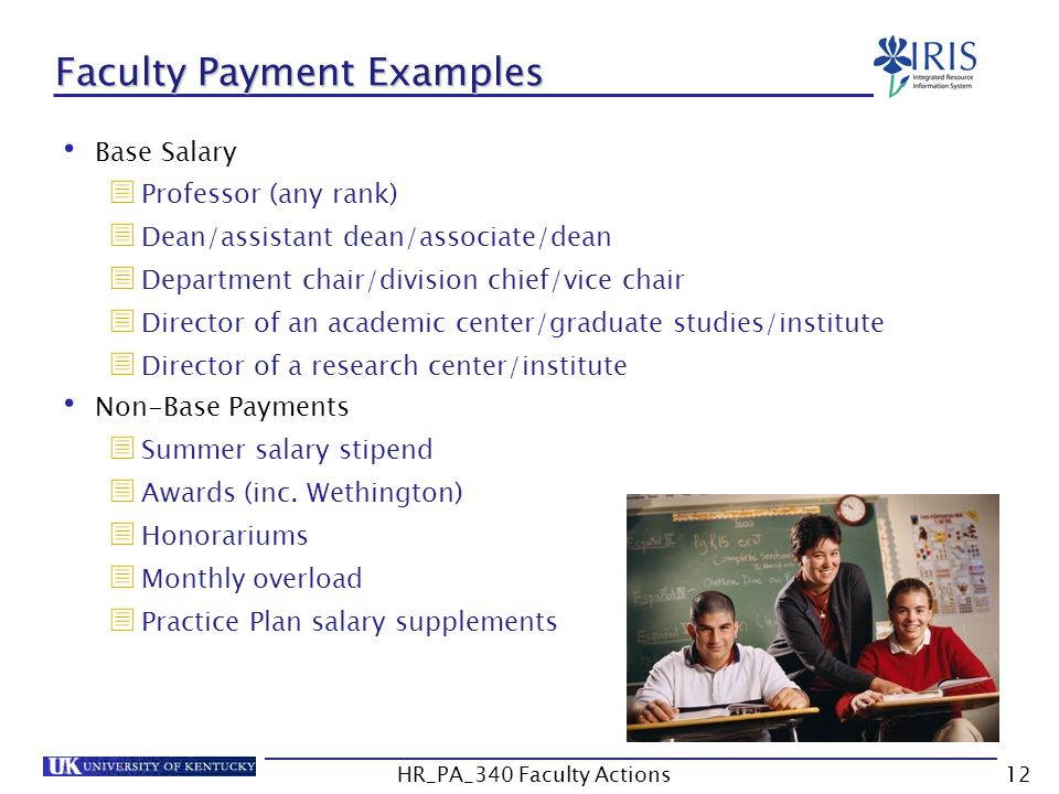 Faculty Payment Examples Base Salary  Professor (any rank)  Dean/assistant dean/associate/dean  Department chair/division chief/vice chair  Direct