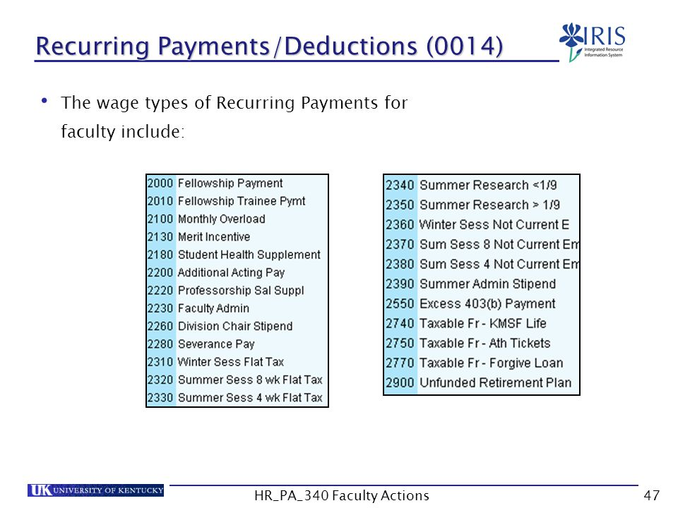 The wage types of Recurring Payments for faculty include: Recurring Payments/Deductions (0014) 47HR_PA_340 Faculty Actions