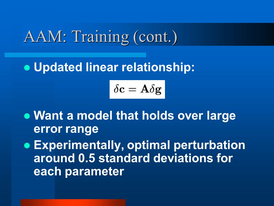AAM: Training (cont.) Updated linear relationship: Want a model that holds over large error range Experimentally, optimal perturbation around 0.5 stan