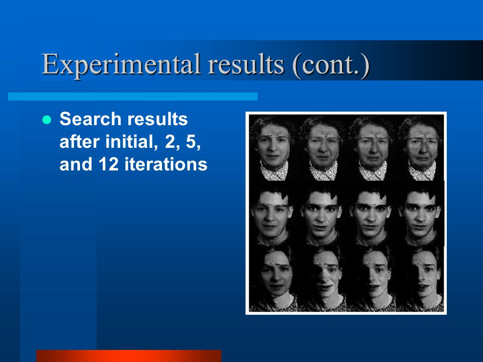 Experimental results (cont.) Search results after initial, 2, 5, and 12 iterations