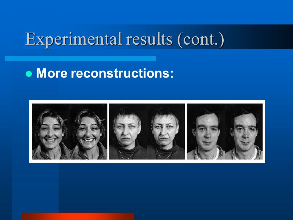 Experimental results (cont.) More reconstructions: