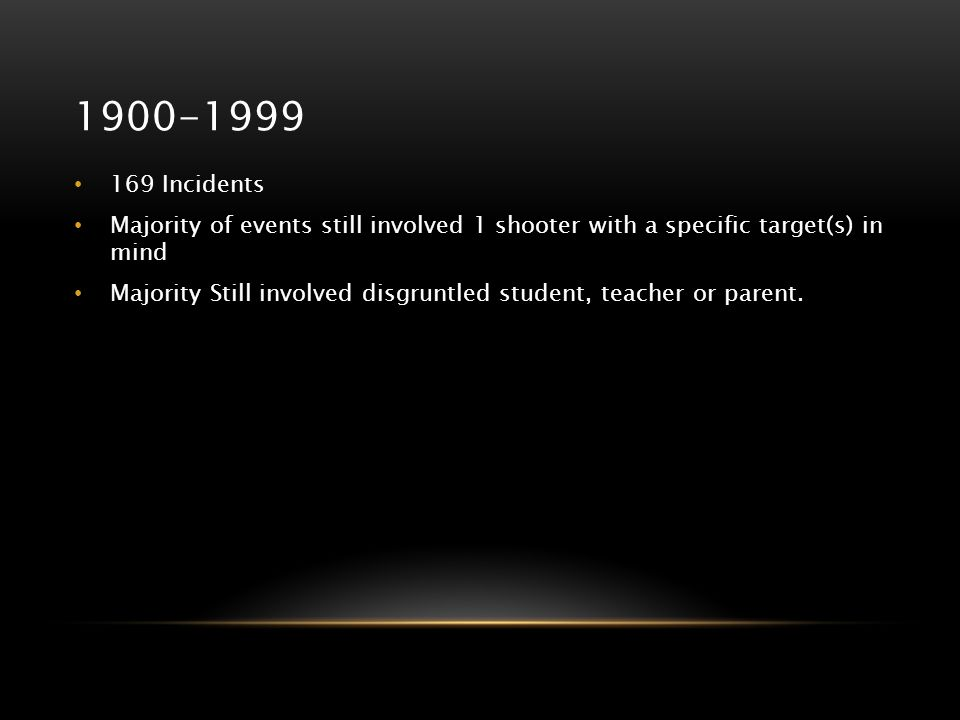 1900-1999 169 Incidents Majority of events still involved 1 shooter with a specific target(s) in mind Majority Still involved disgruntled student, tea