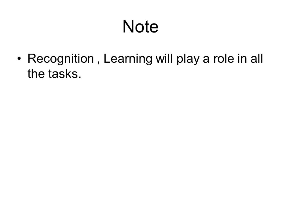 Note Recognition, Learning will play a role in all the tasks.