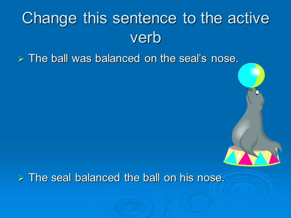 Change this sentence to the active verb  The ball was balanced on the seal's nose.