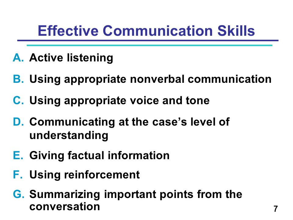 A.Active listening B.Using appropriate nonverbal communication C.Using appropriate voice and tone D.Communicating at the case's level of understanding