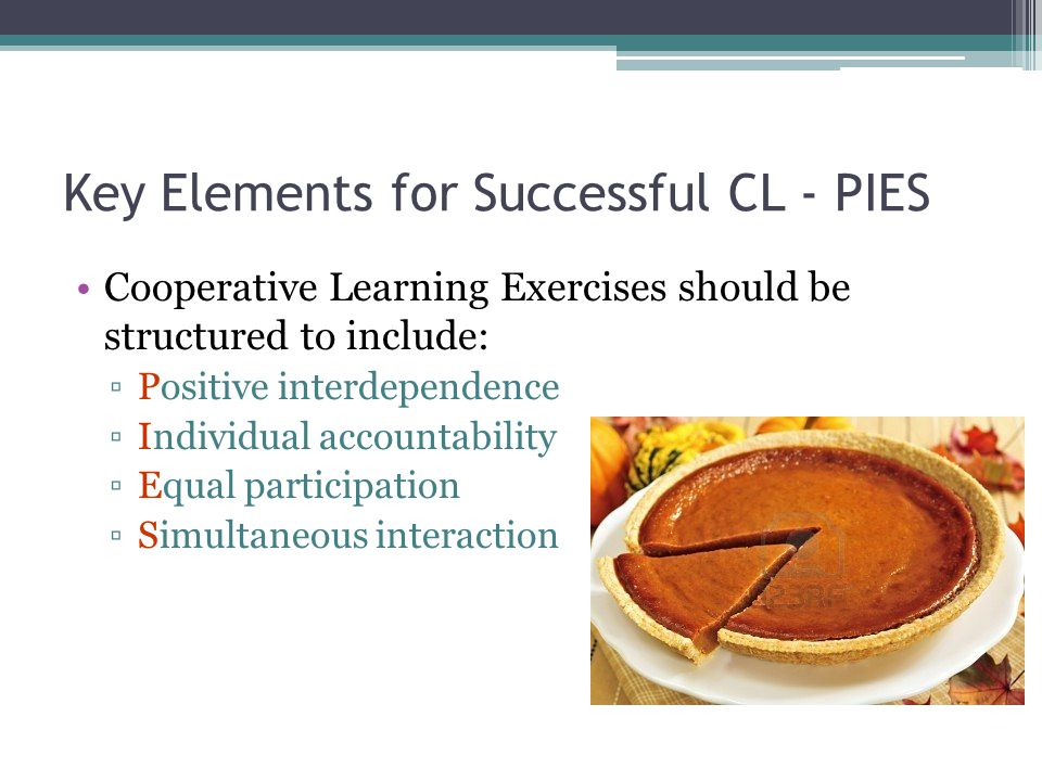 Key Elements for Successful CL - PIES Cooperative Learning Exercises should be structured to include: ▫Positive interdependence ▫Individual accountability ▫Equal participation ▫Simultaneous interaction