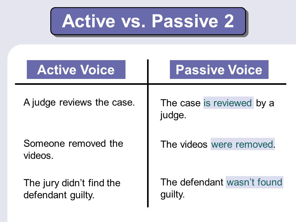 Active vs. Passive 2 The case is reviewed by a judge. Passive Voice A judge reviews the case. Someone removed the videos. The videos were removed. The
