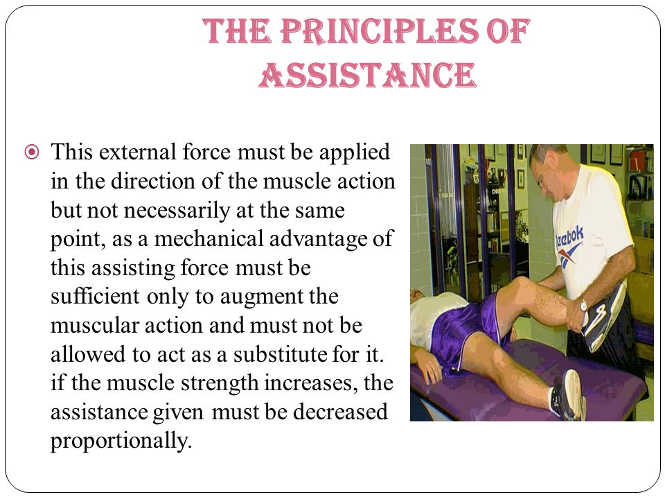 The principles of assistance  This external force must be applied in the direction of the muscle action but not necessarily at the same point, as a m