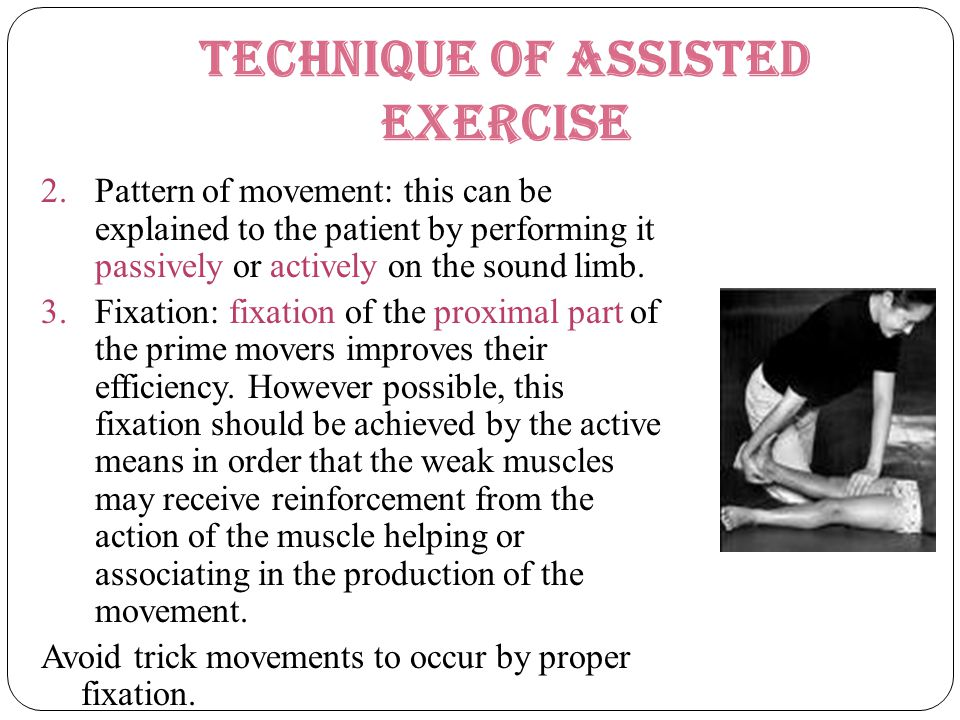 Technique of Assisted Exercise 2.Pattern of movement: this can be explained to the patient by performing it passively or actively on the sound limb. 3