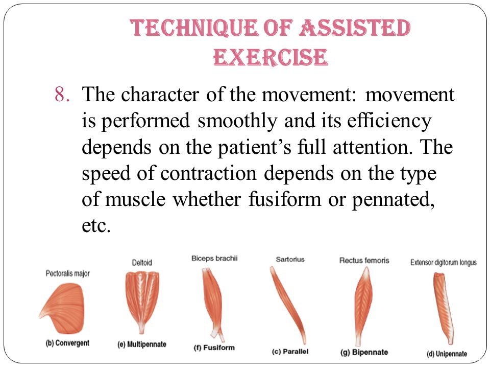 Technique of Assisted Exercise 8.The character of the movement: movement is performed smoothly and its efficiency depends on the patient's full attent