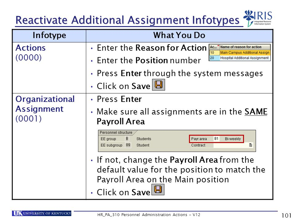 101 HR_PA_310 Personnel Administration Actions - V12 Reactivate Additional Assignment Infotypes InfotypeWhat You Do Actions (0000) Enter the Reason for Action Enter the Position number Press Enter through the system messages Click on Save Organizational Assignment (0001) Press Enter Make sure all assignments are in the SAME Payroll Area If not, change the Payroll Area from the default value for the position to match the Payroll Area on the Main position Click on Save