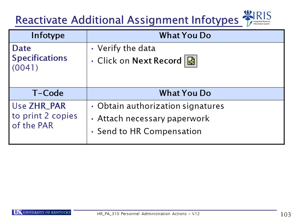 103 HR_PA_310 Personnel Administration Actions - V12 Reactivate Additional Assignment Infotypes InfotypeWhat You Do Date Specifications (0041) Verify the data Click on Next Record T-CodeWhat You Do Use ZHR_PAR to print 2 copies of the PAR Obtain authorization signatures Attach necessary paperwork Send to HR Compensation