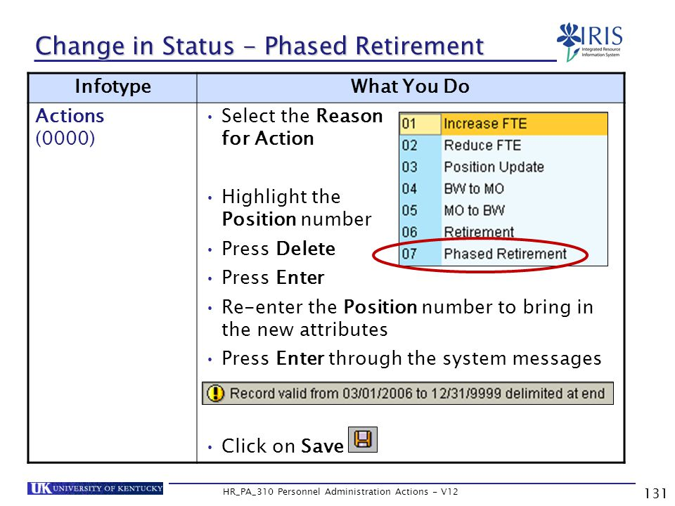 131 HR_PA_310 Personnel Administration Actions - V12 Change in Status - Phased Retirement InfotypeWhat You Do Actions (0000) Select the Reason for Action Highlight the Position number Press Delete Press Enter Re-enter the Position number to bring in the new attributes Press Enter through the system messages Click on Save