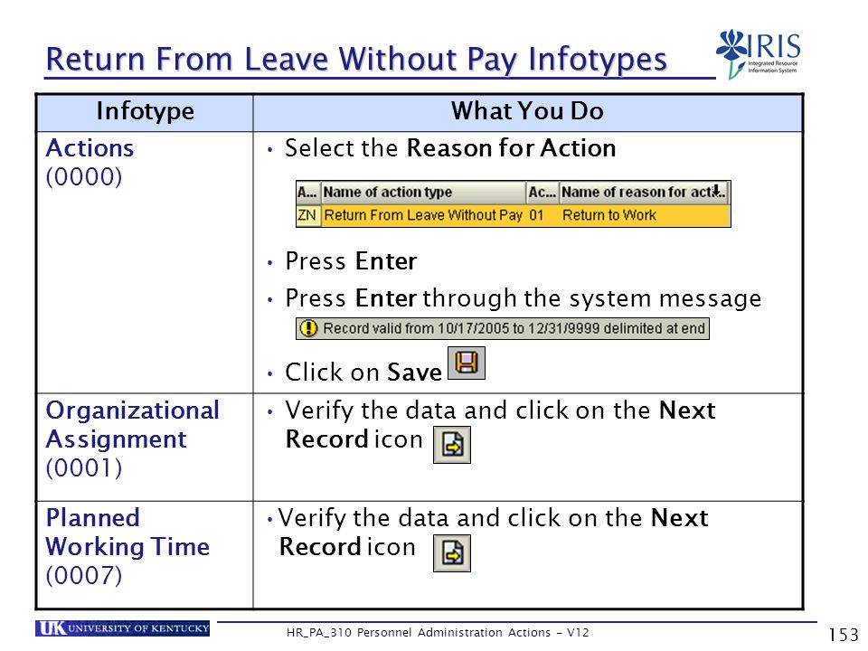 153 HR_PA_310 Personnel Administration Actions - V12 Return From Leave Without Pay Infotypes InfotypeWhat You Do Actions (0000) Select the Reason for Action Press Enter Press Enter through the system message Click on Save Organizational Assignment (0001) Verify the data and click on the Next Record icon Planned Working Time (0007) Verify the data and click on the Next Record icon