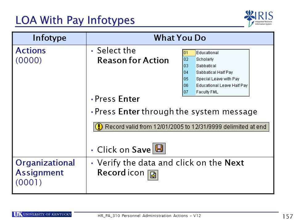 157 HR_PA_310 Personnel Administration Actions - V12 LOA With Pay Infotypes InfotypeWhat You Do Actions (0000) Select the Reason for Action Press Enter Press Enter through the system message Click on Save Organizational Assignment (0001) Verify the data and click on the Next Record icon