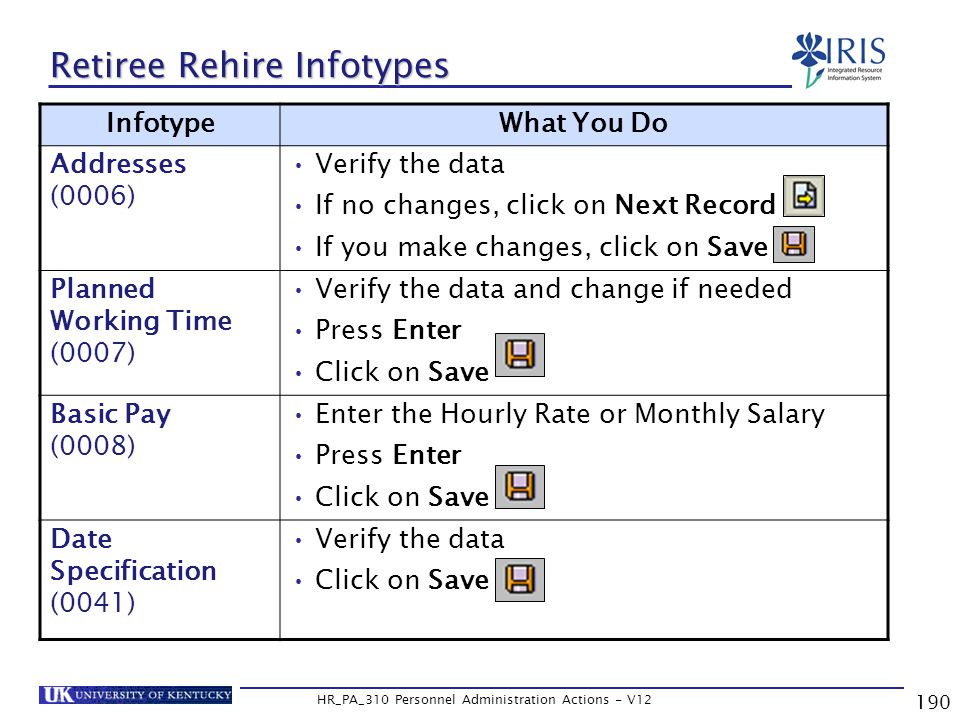 190 HR_PA_310 Personnel Administration Actions - V12 Retiree Rehire Infotypes InfotypeWhat You Do Addresses (0006) Verify the data If no changes, click on Next Record If you make changes, click on Save Planned Working Time (0007) Verify the data and change if needed Press Enter Click on Save Basic Pay (0008) Enter the Hourly Rate or Monthly Salary Press Enter Click on Save Date Specification (0041) Verify the data Click on Save