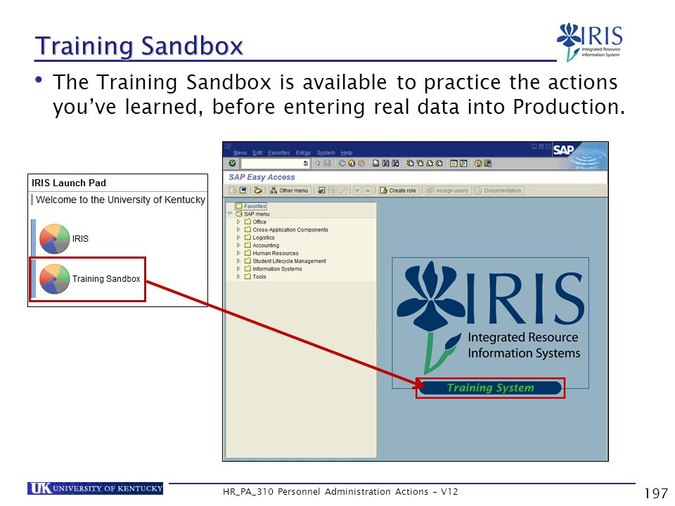 197 HR_PA_310 Personnel Administration Actions - V12 Training Sandbox The Training Sandbox is available to practice the actions you've learned, before entering real data into Production.