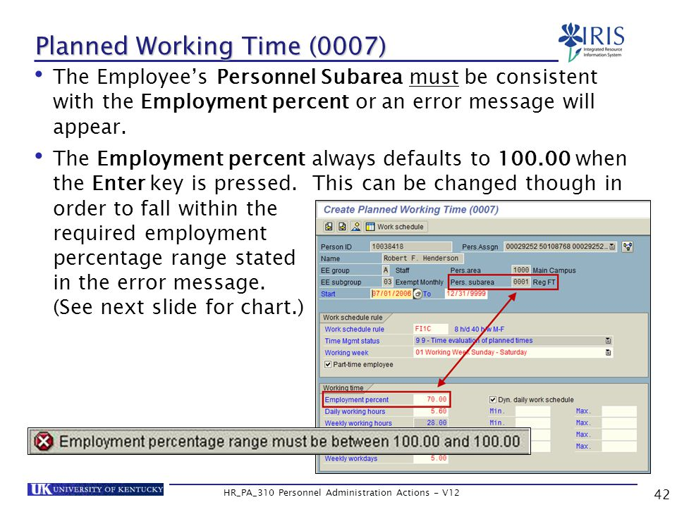 Planned Working Time (0007) The Employee's Personnel Subarea must be consistent with the Employment percent or an error message will appear.