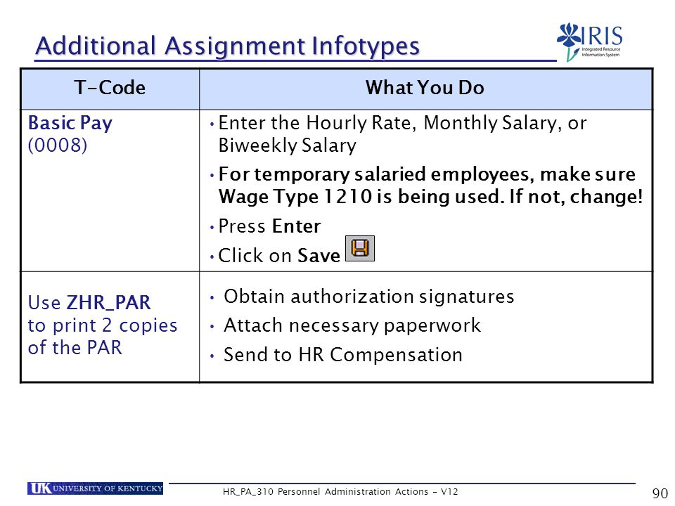 90 HR_PA_310 Personnel Administration Actions - V12 Additional Assignment Infotypes T-CodeWhat You Do Basic Pay (0008) Enter the Hourly Rate, Monthly Salary, or Biweekly Salary For temporary salaried employees, make sure Wage Type 1210 is being used.