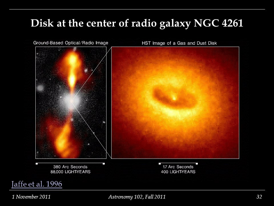 1 November 2011Astronomy 102, Fall 201132 Disk at the center of radio galaxy NGC 4261 Jaffe et al. 1996