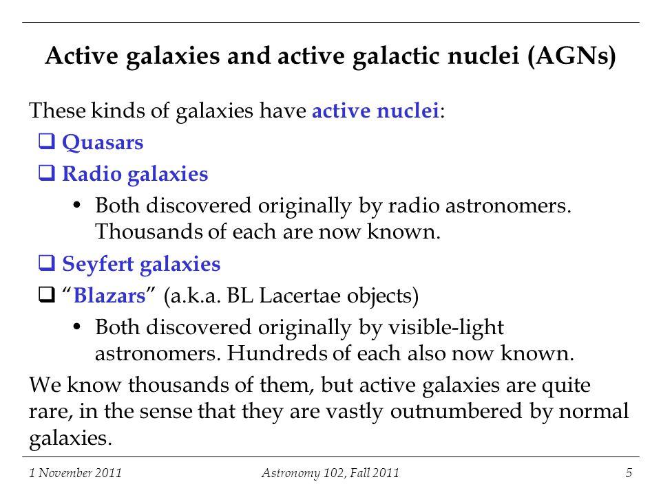 1 November 2011Astronomy 102, Fall 201116 Radio galaxy 3C 353 (Swain and Bridle, 1997)Bridle