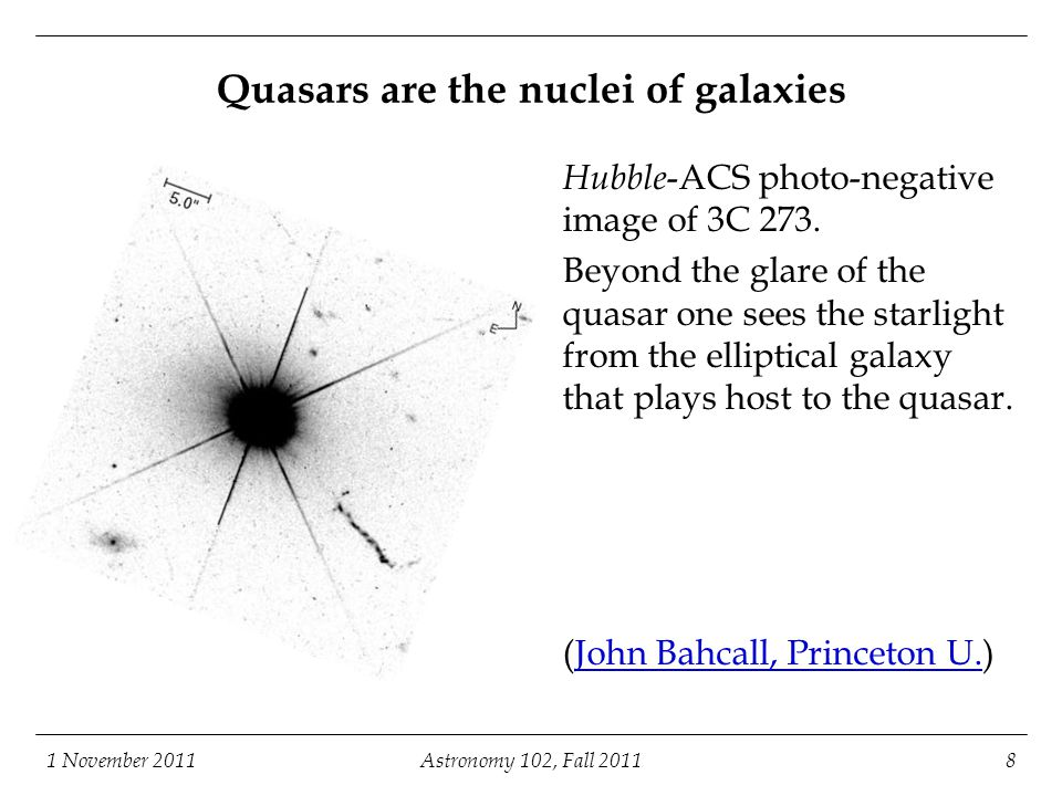 1 November 2011Astronomy 102, Fall 20119 Superluminal (apparently faster-than- light) motion in quasar jets The innermost parts of the radio jet in 3C 273 consists mainly of small knots with separation that changes with time, as shown in these radio images taken over the course of three years (Pearson et al.