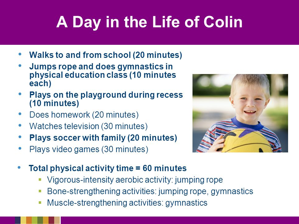 A Day in the Life of Colin Walks to and from school (20 minutes) Jumps rope and does gymnastics in physical education class (10 minutes each) Plays on the playground during recess (10 minutes) Does homework (20 minutes) Watches television (30 minutes) Plays soccer with family (20 minutes) Plays video games (30 minutes) Total physical activity time = 60 minutes  Vigorous-intensity aerobic activity: jumping rope  Bone-strengthening activities: jumping rope, gymnastics  Muscle-strengthening activities: gymnastics