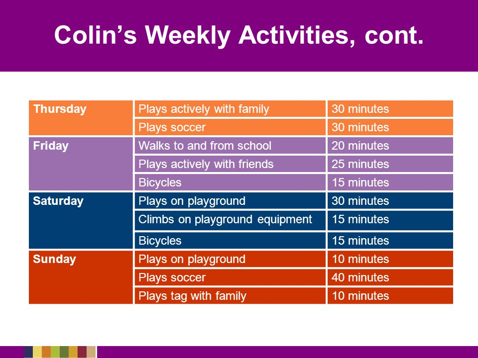 Colin's Weekly Activities, cont.