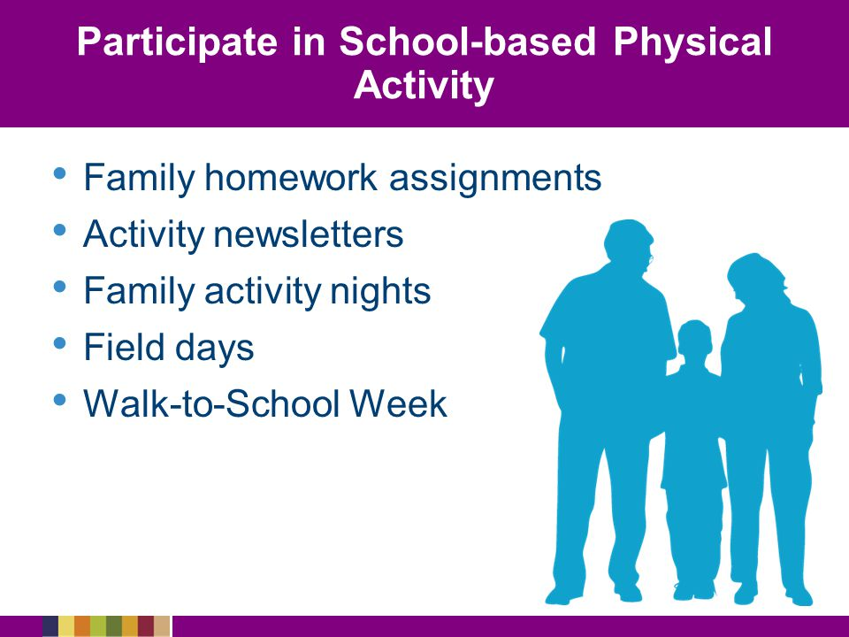 Participate in School-based Physical Activity Family homework assignments Activity newsletters Family activity nights Field days Walk-to-School Week