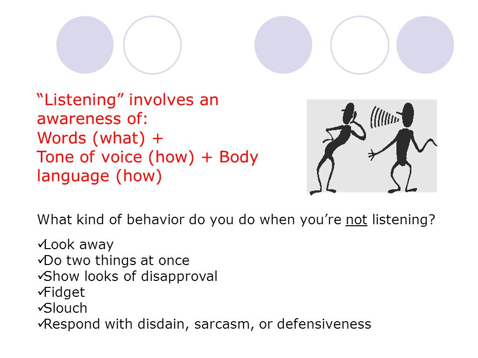 Listening involves an awareness of: Words (what) + Tone of voice (how) + Body language (how) What kind of behavior do you do when you're not listening.