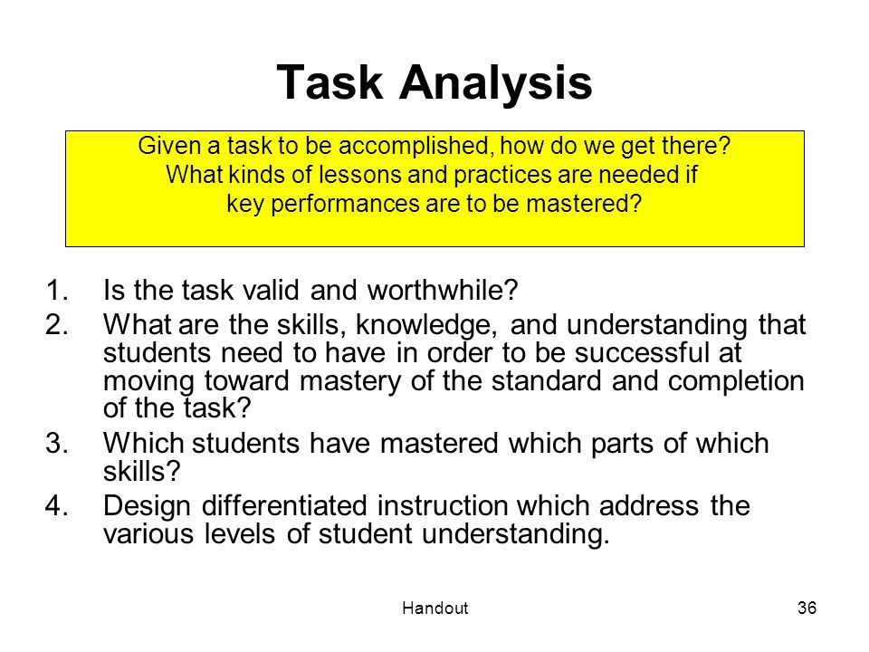 Handout36 Task Analysis 1.Is the task valid and worthwhile? 2.What are the skills, knowledge, and understanding that students need to have in order to