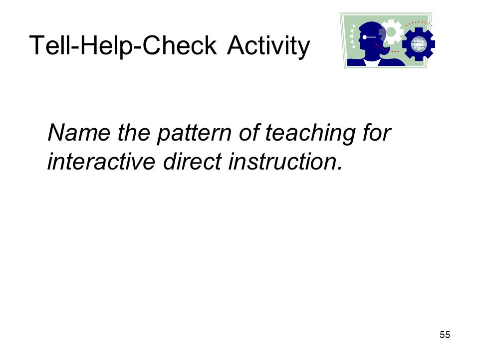 55 Tell-Help-Check Activity Name the pattern of teaching for interactive direct instruction.
