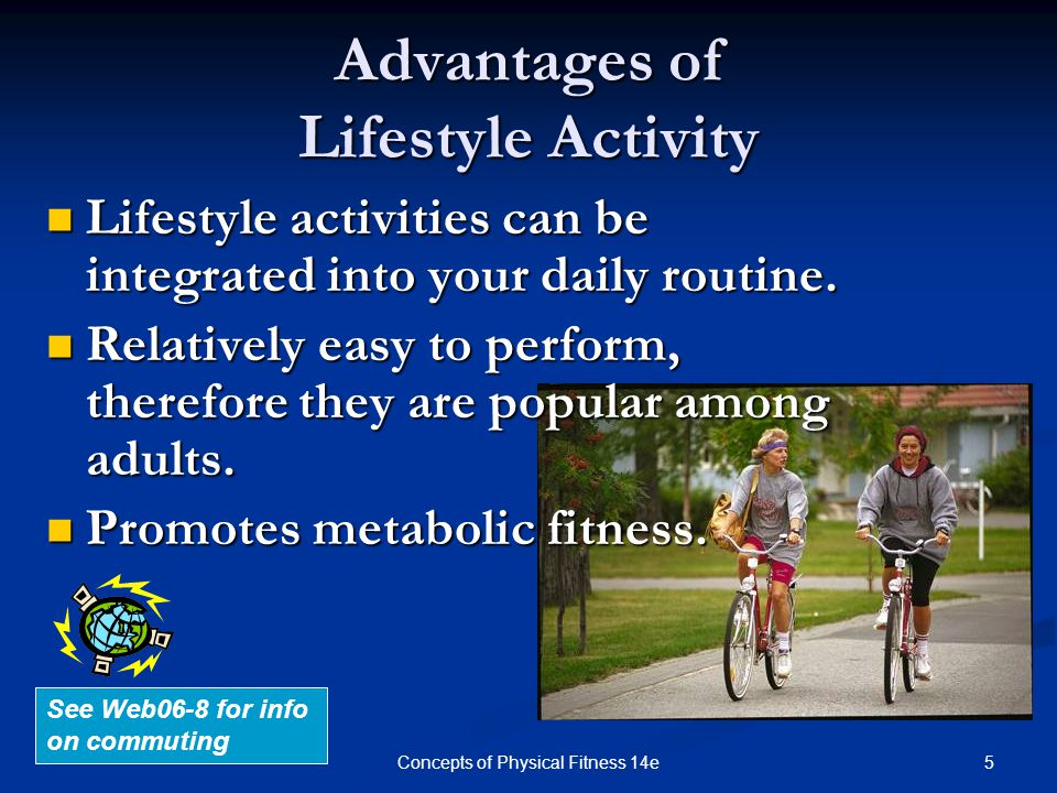 6Concepts of Physical Fitness 14e How to Add Activity into Your Daily Lifestyle Lab 6a Info Park farther away in parking lot Park farther away in parking lot Walk/bike to the store Walk/bike to the store Walk breaks at work Walk breaks at work Take stairs instead of elevators Take stairs instead of elevators Add in Yard work Add in Yard work Count Housework as activity Count Housework as activity