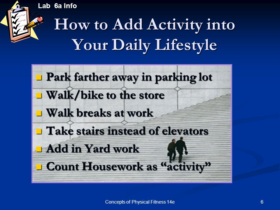 27Concepts of Physical Fitness 14e Lab 6b Information Evaluating Physical Activity Environments Use the community audit forms to conduct an evaluation of the walkability of your community and the availability of community resources for physical activity.