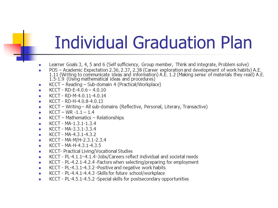 Individual Graduation Plan Learner Goals 3, 4, 5 and 6 (Self sufficiency, Group member, Think and integrate, Problem solve) POS – Academic Expectation