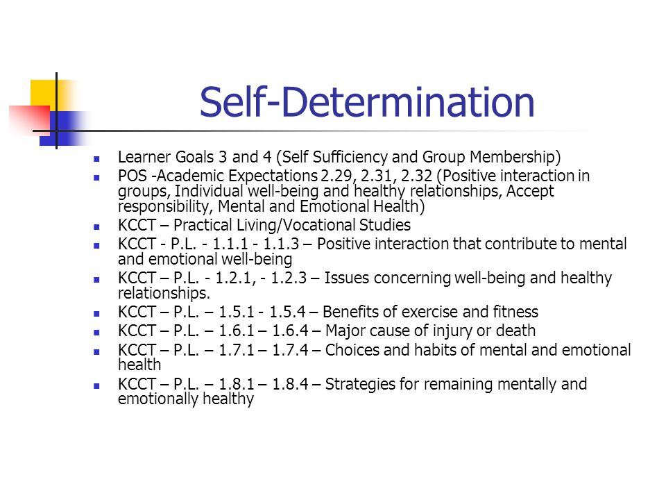 Self-Determination Learner Goals 3 and 4 (Self Sufficiency and Group Membership) POS -Academic Expectations 2.29, 2.31, 2.32 (Positive interaction in