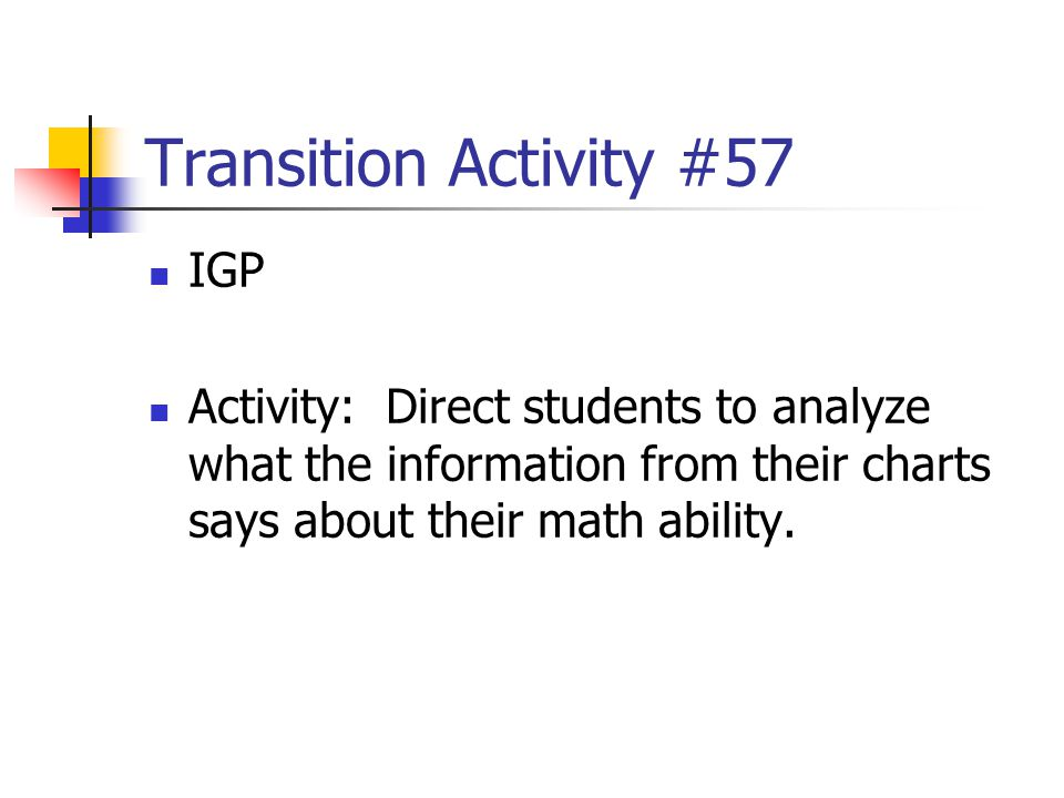 Transition Activity #57 IGP Activity: Direct students to analyze what the information from their charts says about their math ability.