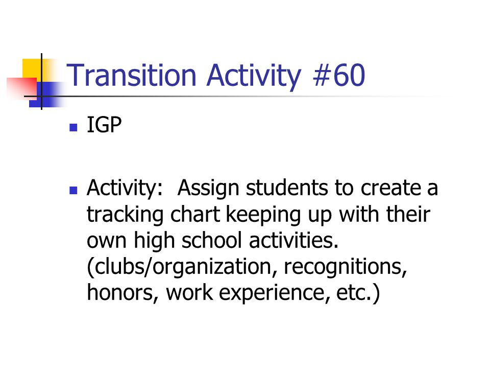 Transition Activity #60 IGP Activity: Assign students to create a tracking chart keeping up with their own high school activities. (clubs/organization