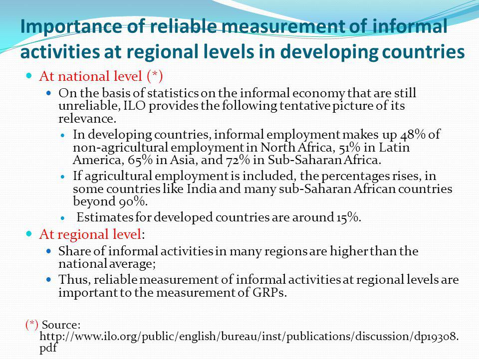 Importance of reliable measurement of informal activities at regional levels in developing countries At national level (*) On the basis of statistics on the informal economy that are still unreliable, ILO provides the following tentative picture of its relevance.