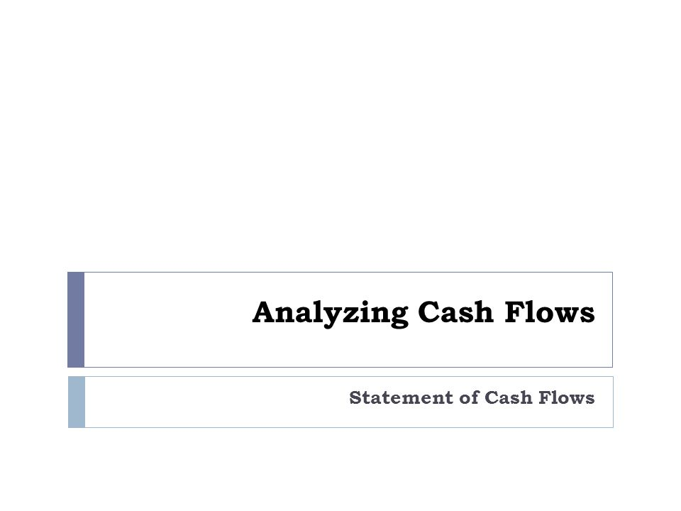 Analyzing Cash Flows Statement of Cash Flows