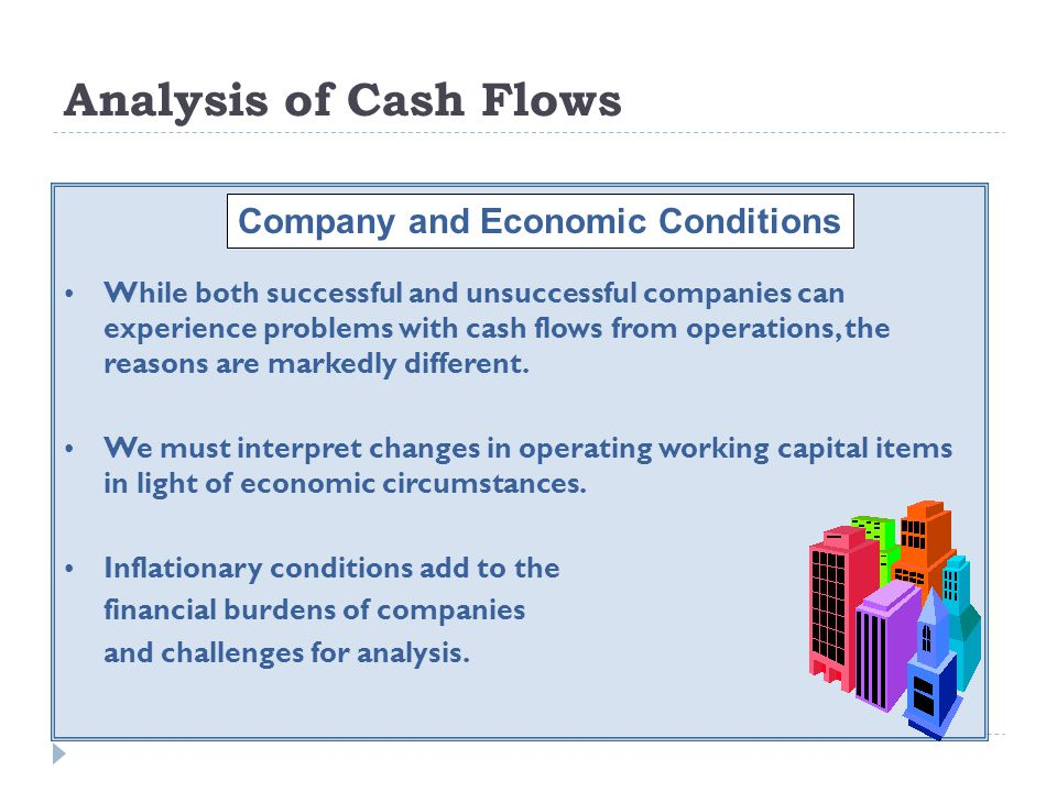 Analysis of Cash Flows While both successful and unsuccessful companies can experience problems with cash flows from operations, the reasons are marke
